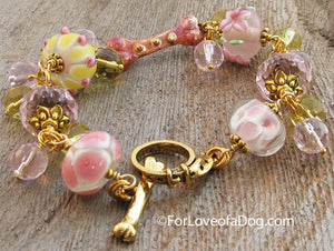 Copper Dog Bone Bracelet Pink Yellow Lampwork Jewelry