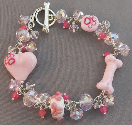 Hot Pink Bling Bracelet Dog Bone Heart Paw Print