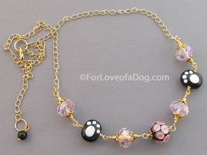 Polka Dog Paw Print Necklace Crystals Gold Cat or Dog