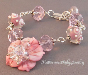 Perfect Pink Flower Bracelet Chunky Artisan Lampwork Crystals