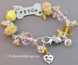 Fetch Dog Bone Bracelet Yellow Pink Lampwork