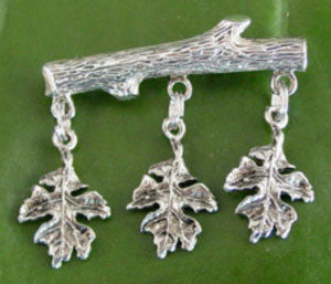 Sterling Silver Oak Leaves on a Branch Pin