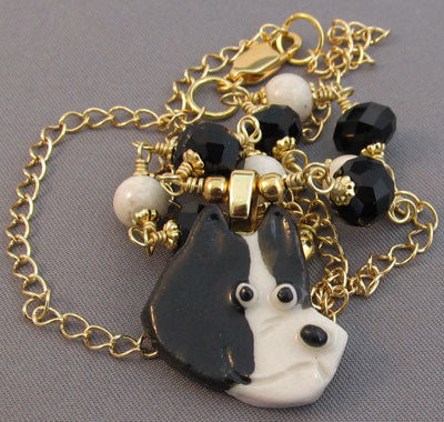 Pit Bull Dog Necklace Black White Gold Jewelry