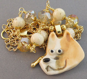 Fawn Pit Bull Dog Necklace Crystal Gold Jewelry
