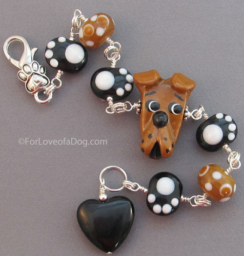 Love a Pit Bull Bracelet Dog Paw Prints Big Heart Ginger Brown