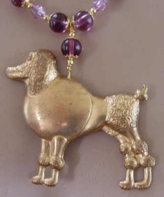 Poodle Dog Jewelry Necklace Vintage Brass Purple Crystal