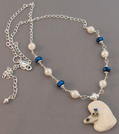 White Poodle Necklace Pearls Blue Crystal Jewelry Handmade