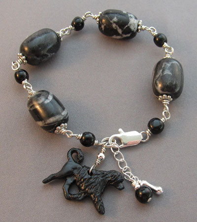 Portuguese Water Dog Bracelet Chunky Marble Silver