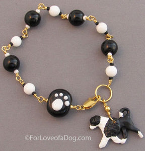 Portuguese Water Dog Bracelet Paw Print Black White Gold