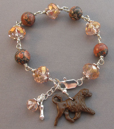 Chocolate Portuguese Water Dog Bracelet Pink Crystal Jasper