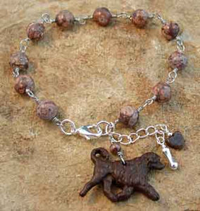 Portuguese Water Dog Bracelet Jasper Silver Bone Breed Jewelry