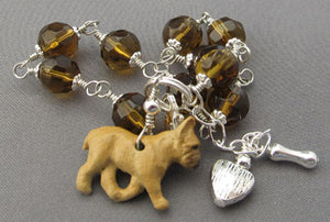 French Bulldog Jewelry Bracelet Amber Crystals Silver Bone