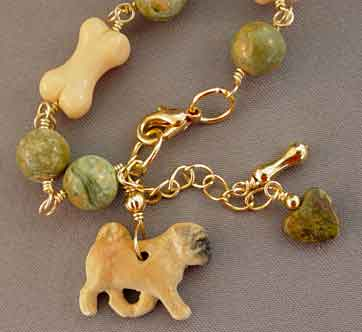 Pug Dog Bone Bracelet Green Gold Dog Breed Jewelry