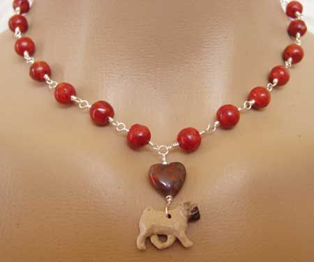 Pug Dog Jewelry Necklace Hot Red Coral Sterling Silver Dog Breed Jewelry