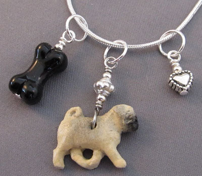 Pug Dog Bone Charm Necklace Silver Heart Handmade Jewelry