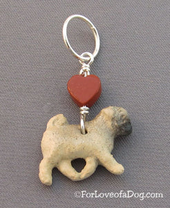 Pug Dog Pendant Red Jasper Heart on Silver