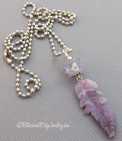 Amethyst Feather Necklace Connect to the Divine Symbol Jewelry