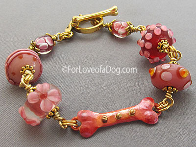 Raspberry Pink Dog Bone Bracelet Lampwork Copper Gold