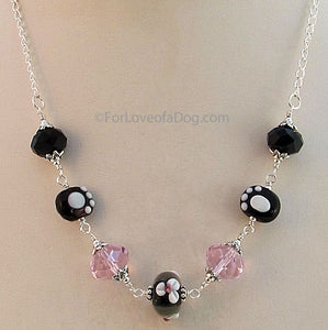 Paw Print Necklace Lampwork Pink Crystals Silver
