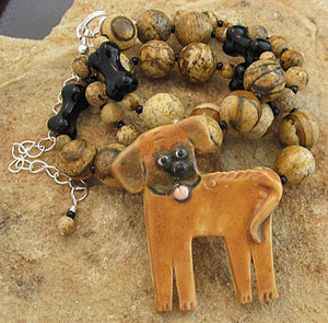 Rhodesian Ridgeback Dog Jewelry Necklace Brooch Handmade