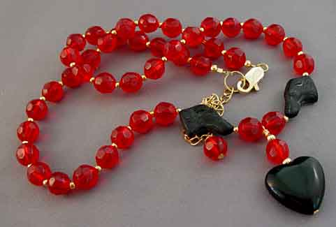 Black Dog Necklace Red Crystal Gold Rescue Jewelry