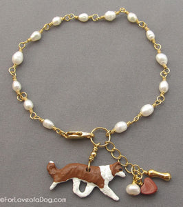 Red Border Collie Dog Bracelet Freshwater Pearls Gold
