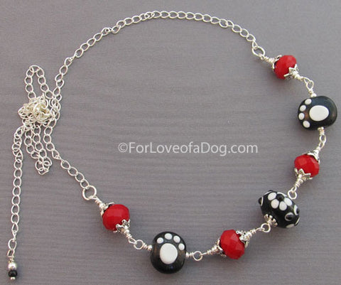 Ruby Red Crystals Paw Print Necklace Silver
