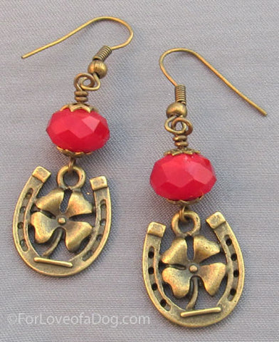 Ruby Red Crystal Earrings Lucky Horse Shoe Clover