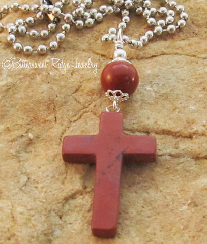 Red Cross Necklace Poppy Jasper Gemstone Pendant Unisex