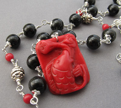 Lucky Red Coral Koi Black Obsidian Necklace