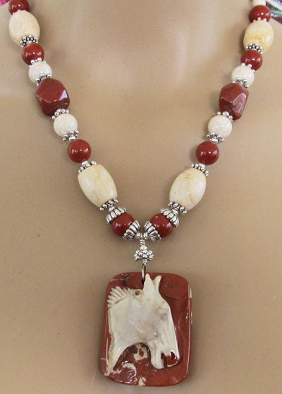 Chunky Cowgirl Necklace Red Jasper Silver