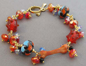 Hot Bling Dog Bone Bracelet Red Blue Lampwork Crystal