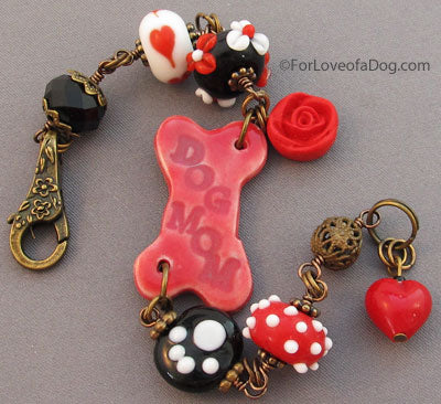 Dog Mom Bracelet Red Rose Paw Print Vintage Style