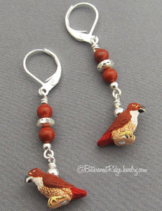 Bird Earrings Tiny Red-tailed Hawks Poppy Jasper Silver