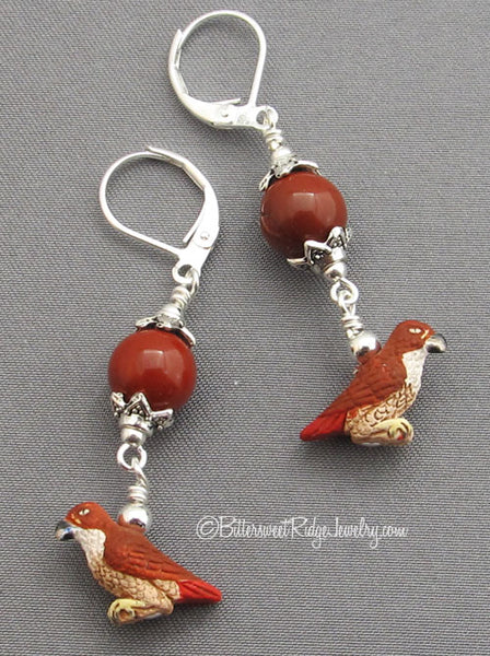 Tiny Red-tailed Hawk Earrings with Jasper on Silver