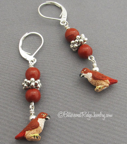 Red-tailed Hawk Earrings Silver Poppy Jasper