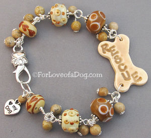 Love My Dog Rescue Dog Bone Bracelet Caramel Lampwork