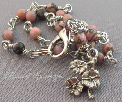 Silver Flowers Ankle Bracelet with Pink Rhodonite