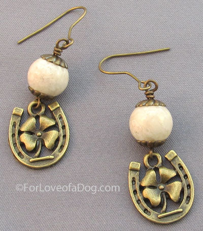 Four Leaf Clover Horse Shoe Earrings Cream Riverstone