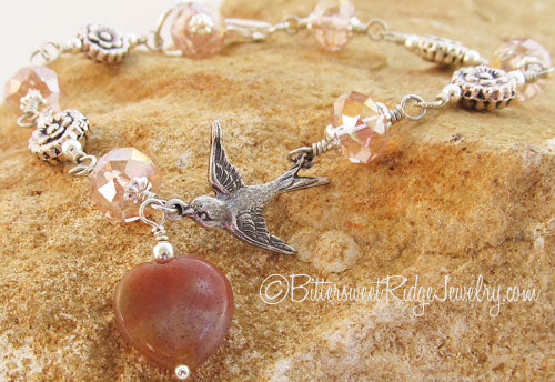 Flying Swallow Silver Roses Pink Crystal Bracelet Bird Jewelry