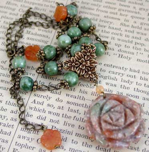 Autumn Rose Jade Jasper Necklace Handcrafted Jewelry