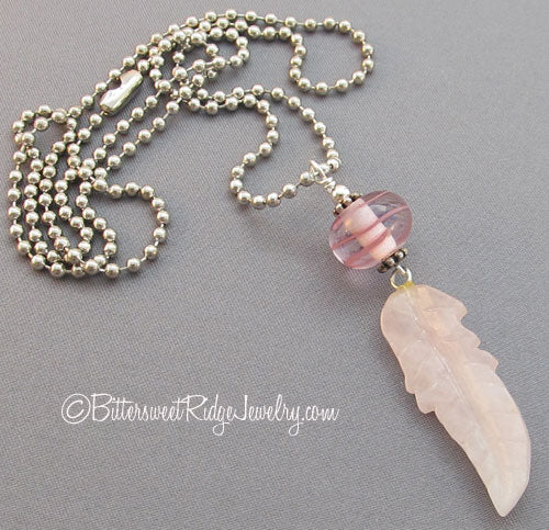 Pink Feather Necklace Love Rose Quartz Pendant Unisex Jewelry