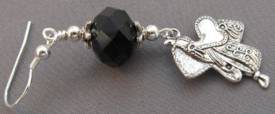 Equestrian Earrings Silver Saddle Black Crystals