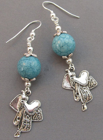 Silver Saddle Earrings Turquoise Equestrian Jewelry