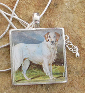 Setter Spaniel Dog Necklace 19th Century Art Image Pendant