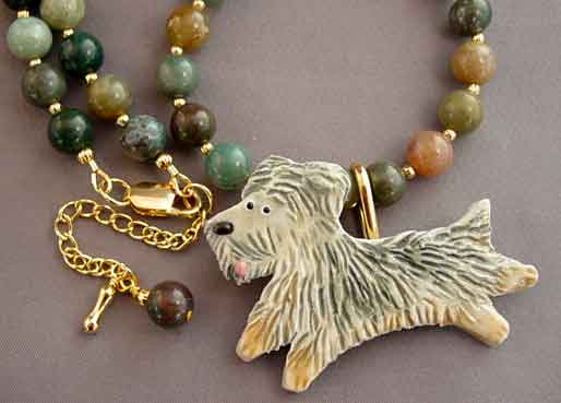 Shaggy Dog Pin Necklace Handcrafted Jewelry