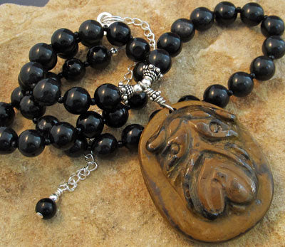 Shar Pei Dog Necklace Obsidian Silver Jewelry Handmade