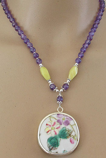 Amethyst Pottery Shard Necklace Silver Jewelry