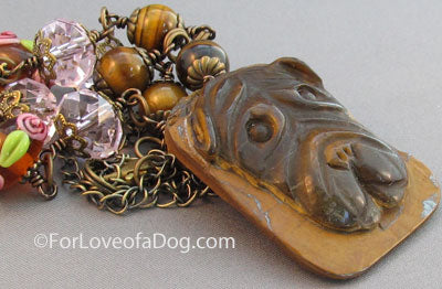 Shar Pei Dog Necklace Tigerseye Crystals Lampwork