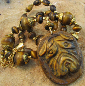 Shar Pei Dog Jewelry Tigerseye Gold Necklace Handmade